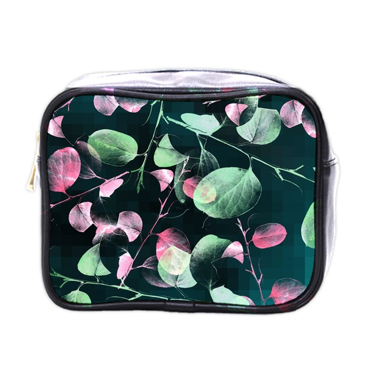 Modern Green And Pink Leaves Mini Toiletries Bags
