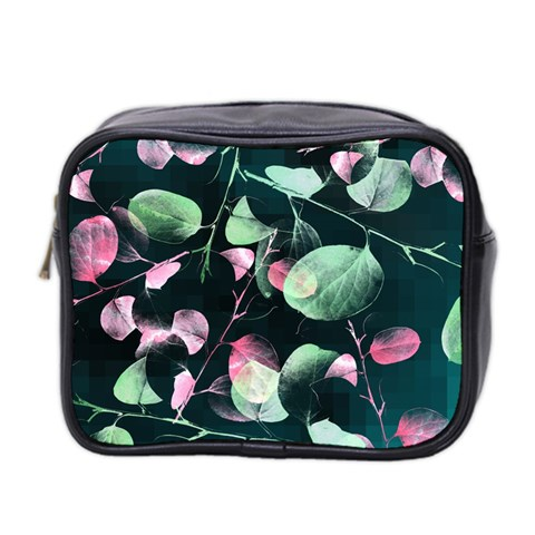 Modern Green And Pink Leaves Mini Toiletries Bag 2-Side