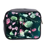 Modern Green And Pink Leaves Mini Toiletries Bag 2-Side Back