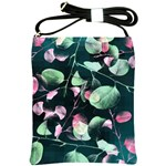 Modern Green And Pink Leaves Shoulder Sling Bags Front