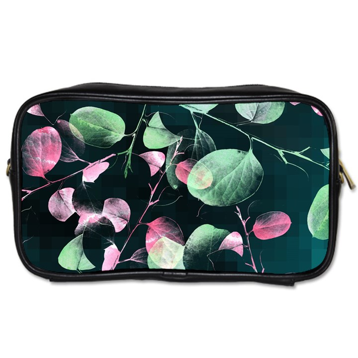 Modern Green And Pink Leaves Toiletries Bags