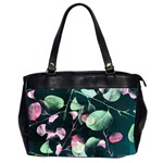 Modern Green And Pink Leaves Office Handbags (2 Sides)  Front