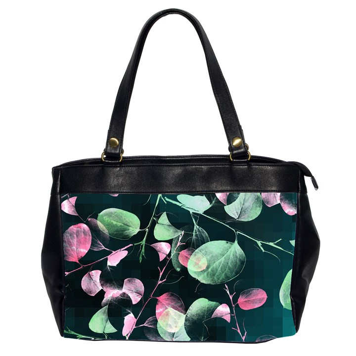 Modern Green And Pink Leaves Office Handbags (2 Sides)