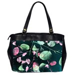 Modern Green And Pink Leaves Office Handbags (2 Sides)  Back