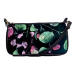 Modern Green And Pink Leaves Shoulder Clutch Bags Front