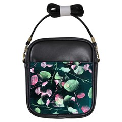 Modern Green And Pink Leaves Girls Sling Bags