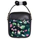 Modern Green And Pink Leaves Girls Sling Bags Front