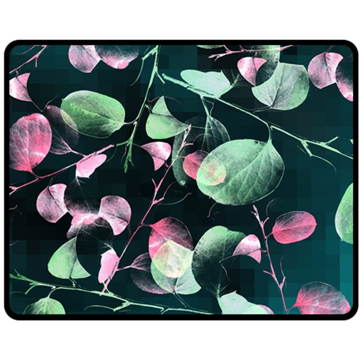 Modern Green And Pink Leaves Fleece Blanket (Medium)