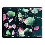 Modern Green And Pink Leaves Fleece Blanket (Small) 50 x40 Blanket Front
