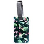 Modern Green And Pink Leaves Luggage Tags (Two Sides) Front