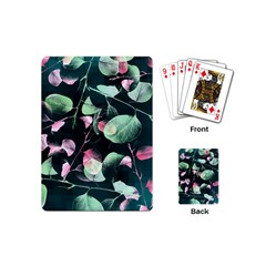 Modern Green And Pink Leaves Playing Cards (Mini)