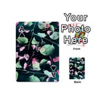 Modern Green And Pink Leaves Playing Cards 54 (Mini)  Front - SpadeA