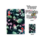 Modern Green And Pink Leaves Playing Cards 54 (Mini)  Front - Heart6