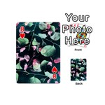 Modern Green And Pink Leaves Playing Cards 54 (Mini)  Front - Heart8