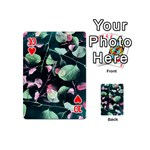Modern Green And Pink Leaves Playing Cards 54 (Mini)  Front - Heart10