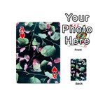Modern Green And Pink Leaves Playing Cards 54 (Mini)  Front - HeartA