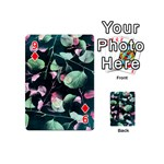 Modern Green And Pink Leaves Playing Cards 54 (Mini)  Front - Diamond9