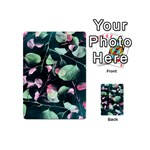 Modern Green And Pink Leaves Playing Cards 54 (Mini)  Back