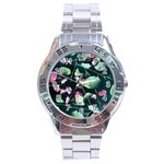 Modern Green And Pink Leaves Stainless Steel Analogue Watch Front
