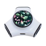 Modern Green And Pink Leaves 3-Port USB Hub Front