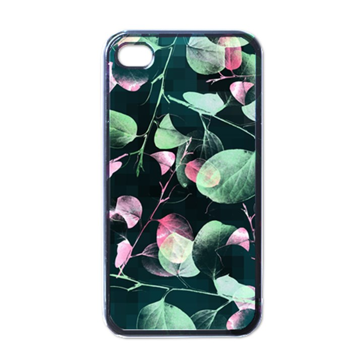 Modern Green And Pink Leaves Apple iPhone 4 Case (Black)