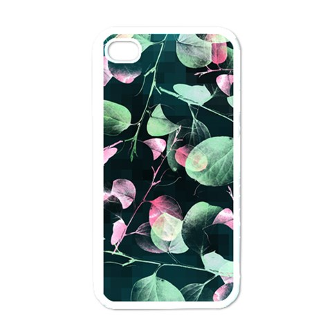 Modern Green And Pink Leaves Apple iPhone 4 Case (White)