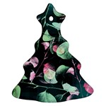 Modern Green And Pink Leaves Ornament (Christmas Tree) Front