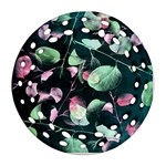 Modern Green And Pink Leaves Round Filigree Ornament (2Side) Front