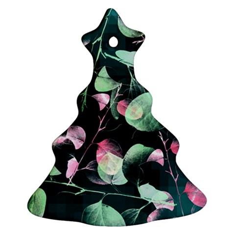 Modern Green And Pink Leaves Christmas Tree Ornament (2 Sides)