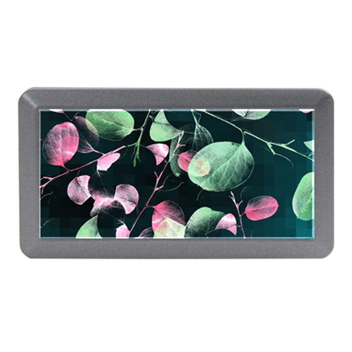 Modern Green And Pink Leaves Memory Card Reader (Mini)
