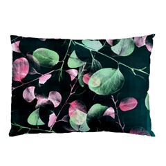 Modern Green And Pink Leaves Pillow Case (two Sides)