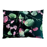 Modern Green And Pink Leaves Pillow Case (Two Sides) Back