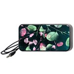 Modern Green And Pink Leaves Portable Speaker (Black)  Front