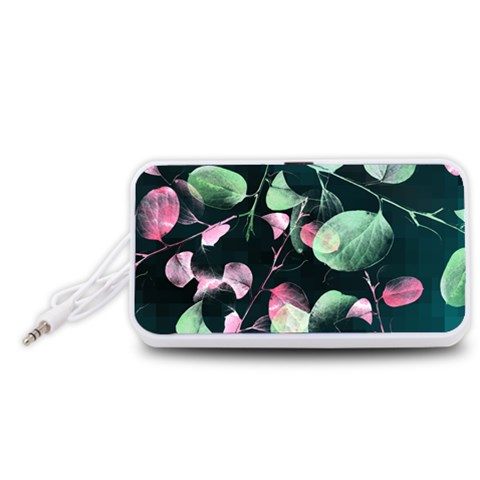 Modern Green And Pink Leaves Portable Speaker (White)