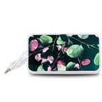 Modern Green And Pink Leaves Portable Speaker (White)  Front