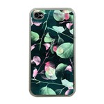 Modern Green And Pink Leaves Apple iPhone 4 Case (Clear) Front