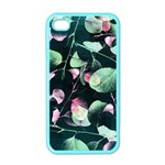 Modern Green And Pink Leaves Apple iPhone 4 Case (Color) Front