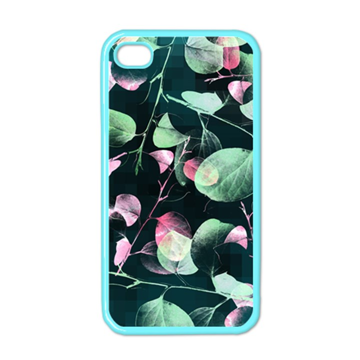 Modern Green And Pink Leaves Apple iPhone 4 Case (Color)
