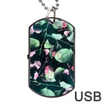 Modern Green And Pink Leaves Dog Tag USB Flash (One Side) Front