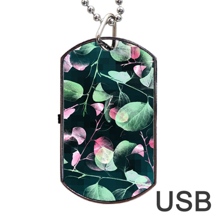 Modern Green And Pink Leaves Dog Tag USB Flash (Two Sides)