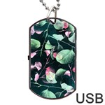 Modern Green And Pink Leaves Dog Tag USB Flash (Two Sides)  Back