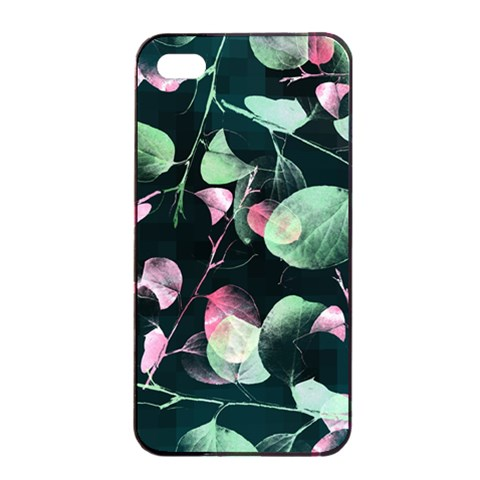 Modern Green And Pink Leaves Apple iPhone 4/4s Seamless Case (Black)