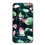 Modern Green And Pink Leaves Apple iPhone 4/4s Seamless Case (Black) Front