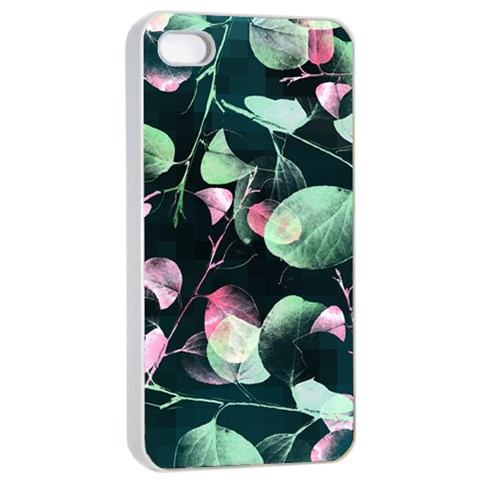 Modern Green And Pink Leaves Apple iPhone 4/4s Seamless Case (White)