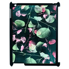 Modern Green And Pink Leaves Apple Ipad 2 Case (black)