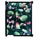 Modern Green And Pink Leaves Apple iPad 2 Case (Black) Front