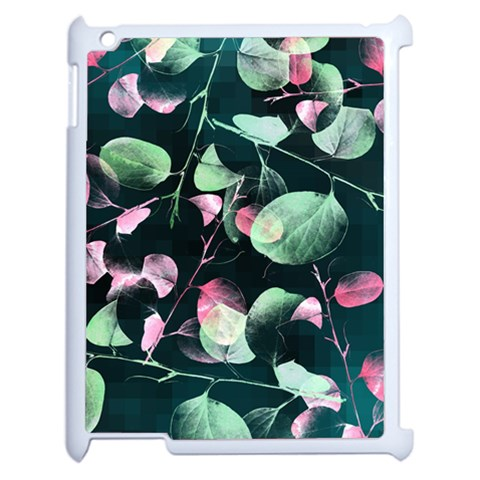 Modern Green And Pink Leaves Apple iPad 2 Case (White)
