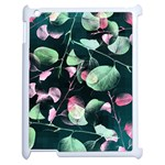 Modern Green And Pink Leaves Apple iPad 2 Case (White) Front