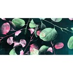 Modern Green And Pink Leaves Twin Hearts 3D Greeting Card (8x4) Back