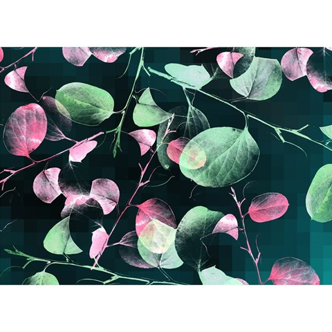 Modern Green And Pink Leaves Birthday Cake 3D Greeting Card (7x5)